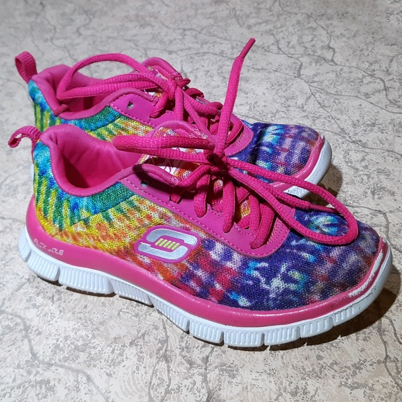 Länk nål Godartad  Barn Skechers Rainbow Tie Dye Sneakers Storlek 11